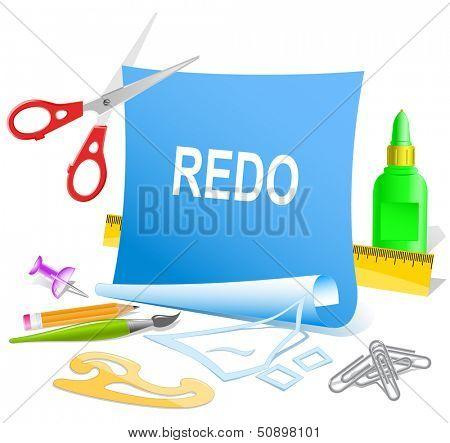 Redo. Paper template. Raster illustration.