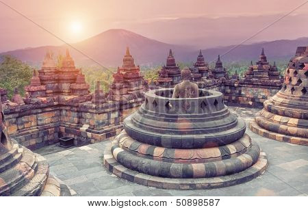 Borobudur Temple at sunrise.Java.Indonesia.