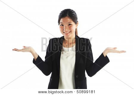 Asian Woman with Both Empty Palms Hands Out