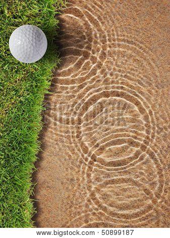 Golf Ball On Fresh Green Grass Near Water Bunke