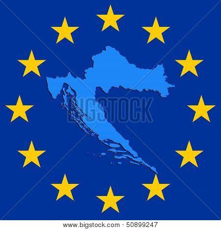 Croatia In Eu. Outline Of Croatia Inside Of European Stars