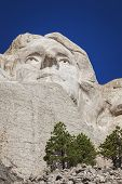 image of mount rushmore national memorial  - Face of Thomas Jefferson Mount Rushmore National Memorial Black Hills South Dakota - JPG