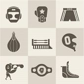 stock photo of shoe-box  - Vector Boxing icons - JPG