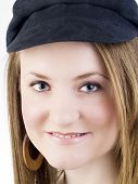 Closeup Portrait Of Young Caucasian Woman In Black Hat