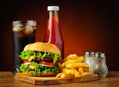 picture of hamburger  - still life with fast food hamburger menu french fries soft drink and ketchup - JPG