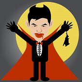 stock photo of dracula  - Vector and illustration of vampire dracula with bat and moon - JPG
