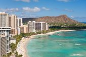 image of waikiki  - Scenic view of Honolulu city - JPG