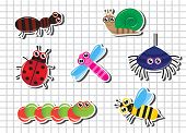 foto of baby spider  - Set of bright Cartoon insects against a sheet of paper in the cage - JPG