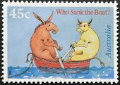 A stamp shows illustration for childrens story by Pamela Allen