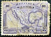 MEXICO - CIRCA 1915: A stamp printed in Mexico shows map of mexico with the rail network