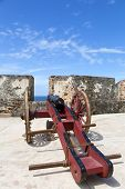 pic of el morro castle  - Historic cannon in El Morro castle in San Juan Puerto Rico - JPG