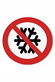 stock photo of no entry  - Red painted signs no winter no cold and snow.