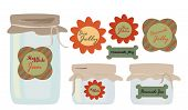 stock photo of jar jelly  - Labels Set - JPG