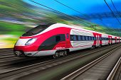 stock photo of locomotive  - Railroad travel and railway tourism transportation industrial concept - JPG