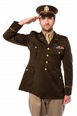 picture of military personnel  - Young military officer saluting national flag over white - JPG