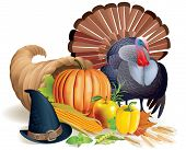 image of cornucopia  - Cornucopia turkey and Thanksgiving Hat - JPG
