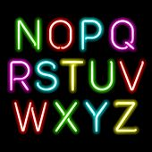 stock photo of glow  - Neon glow alphabet - JPG