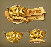 picture of pantomime  - Gold theater masks - JPG