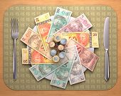 pic of brazilian money  - Dinner time with Brazilian money on the plate - JPG