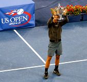 FLUSHING,NY-SEP 9: Rafael Nadal during the trophy presentation after the mens finals of the US Open