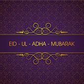 picture of eid card  - Elegant greeting card or background for celebration of Muslim community festival of sacrifice Eid Ul Adha Mubarak - JPG