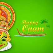 picture of onam festival  - illustration of Kathakali dancer face and boat racing for Onam celebration - JPG