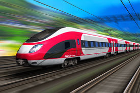 stock photo of passenger train  - Railroad travel and railway tourism transportation industrial concept - JPG