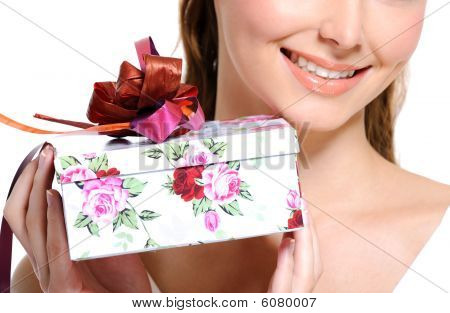 Toothy Smiling Half Female Face With Present Box
