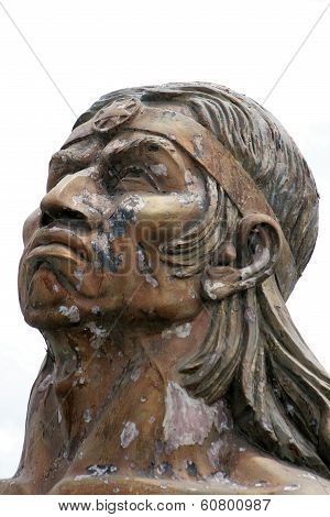 Weathered Statue of Inca Warrior