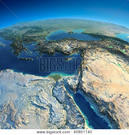 Detailed Earth. Africa And Middle East