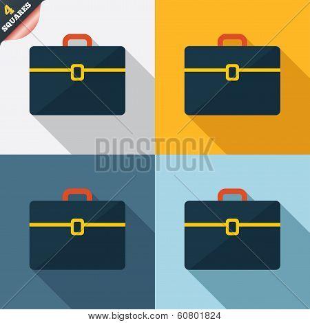 Case sign icon. Briefcase button.