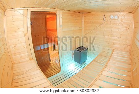Inside small nice sauna in the wellness