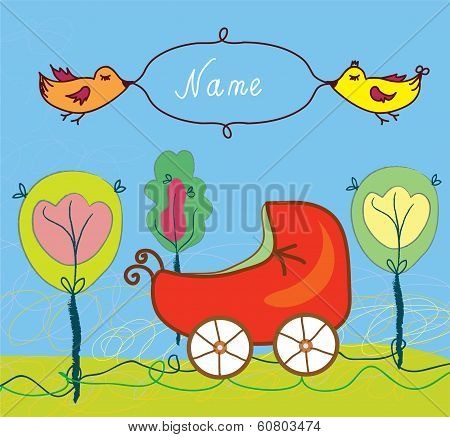 Baby birth card with pram and trees and frame