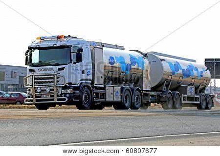 Scania Tanker Truck Transporting Milk