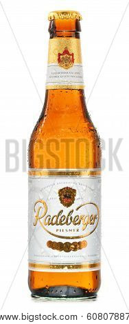 Bottle Of Radeberger Beer Isolated On White