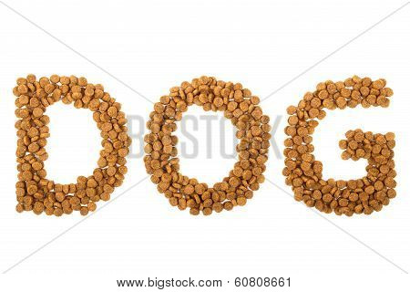 Word Dog Written With Granules