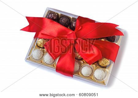 Beautifully Decorated And Tied With A Ribbon Candy Box On A White Background - Holiday Gift, Anniver