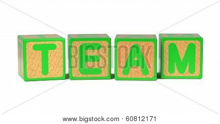 Team - Colored Childrens Alphabet Blocks.
