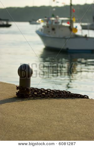 Mooring Cleat And Boats