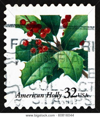 Postage Stamp Usa 1997 Holly, Christmas