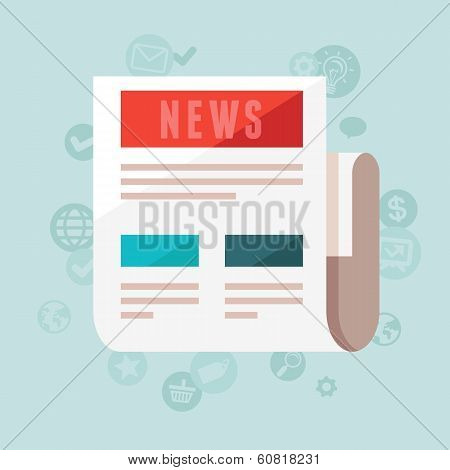 Vector News Concept In Flat Style