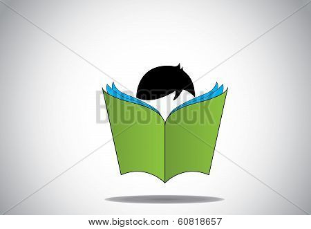 Young Smart Boy Kid Reading 3D Green Open Book Education Concept