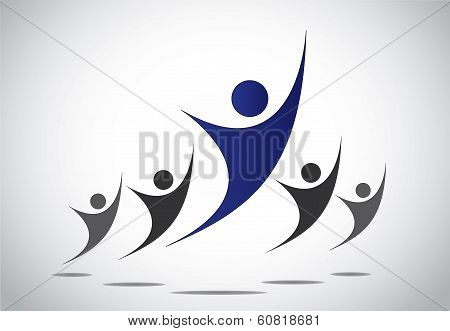 Achievement, Team Work, Success & Leadership Concept Illustration