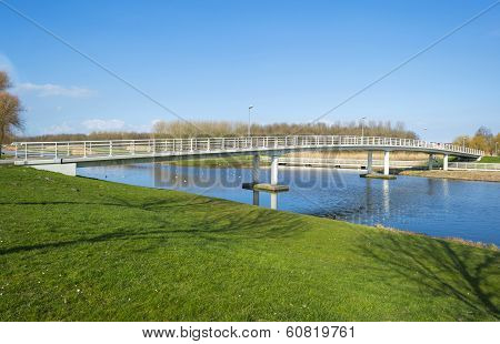 Bridge over a canal in winter
