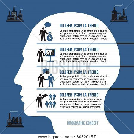 Business Infographic Concept for Presentation with Human Head