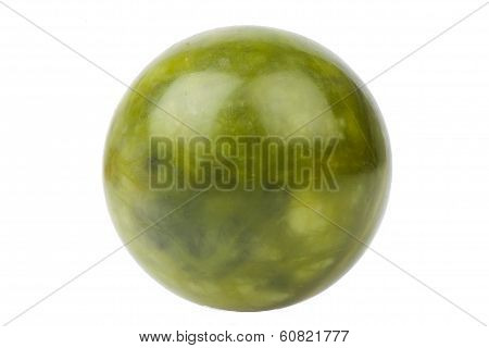 Ball of green jade stone isolated