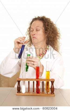 Crazy Woman Scientist With Test Tubes Scrunch Face