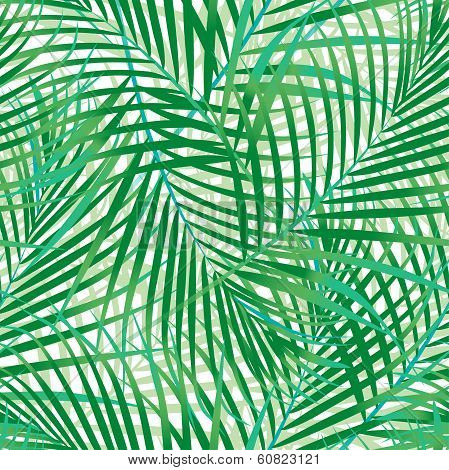 Green Palm Leaves Seamless Pattern.