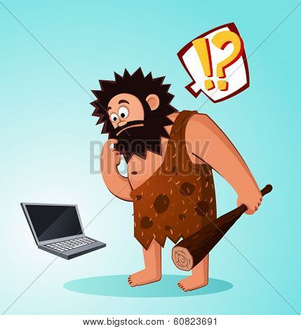 caveman found a laptop