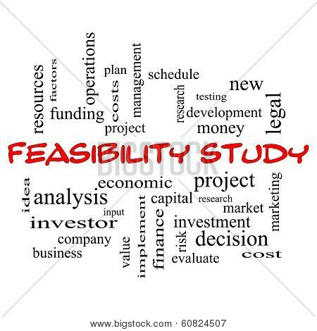 Feasibility Study Word Cloud Concept In Red Caps